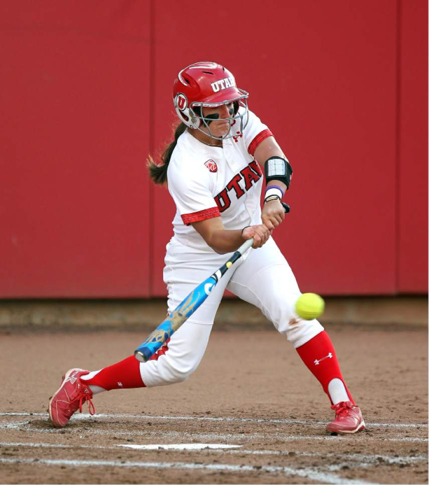 Steve C. Wilson  |  Utah athletics  Hannah Flippen swings at a pitch during a game earlier this year. The Utah softball second baseman leads the Pac-12 with a .427 batting average and is one of only two players with an on-base percentage better than .500.
