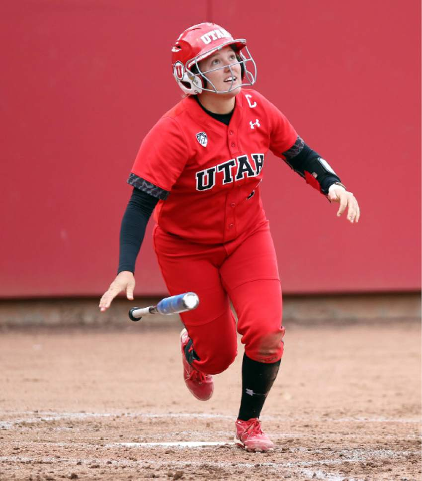 Steve C. Wilson  |  Utah athletics  Hannah Flippen takes off from home during a game earlier this year for Utah softball. The senior is the defending Pac-12 player of the year and leading the league in batting average.