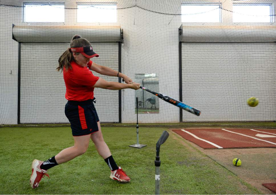 Francisco Kjolseth | The Salt Lake Tribune Utah softball second baseman Hannah Flippen works on her hits in the batting cages on Tuesday. The team is heading out of town to battle Florida State this weekend in the final 16. The team had a season-long goal to make it to Super Regionals. Now they're here for the first time since 1994.