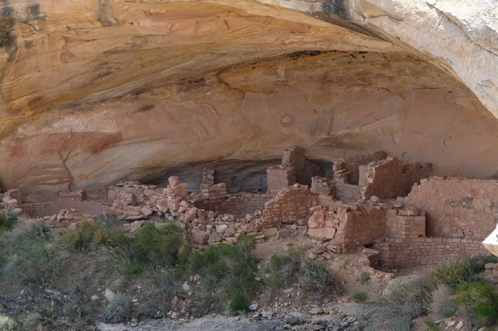 Francisco Kjolseth | The Salt Lake Tribune Interior Secretary Ryan Zinke tours the Butler Wash Indian ruins within Bears Ears National Monument in southeastern Utah. Interior Secretary Zinke is touring the monument, including Grand Staircase-Escalante National Monument this week as part of a review order by President Trump.