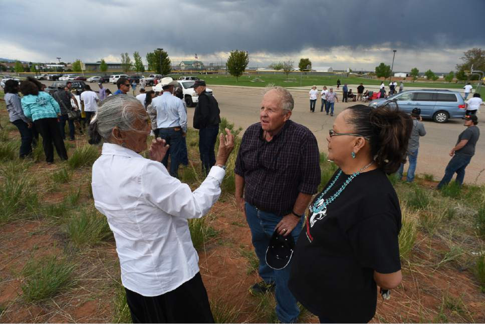 Francisco Kjolseth | The Salt Lake Tribune Rep. Mike Noel, R-Kanab, speaks with Betty Jones, 87, left, as her daughter Anna Tom translates from Navajo during anti-monument rally at Centennial Park in Blanding on Monday, May 8, 2017. Interior Secretary Ryan Zinke is touring the Bears Ears National Monument as part of a review ordered by President Trump.