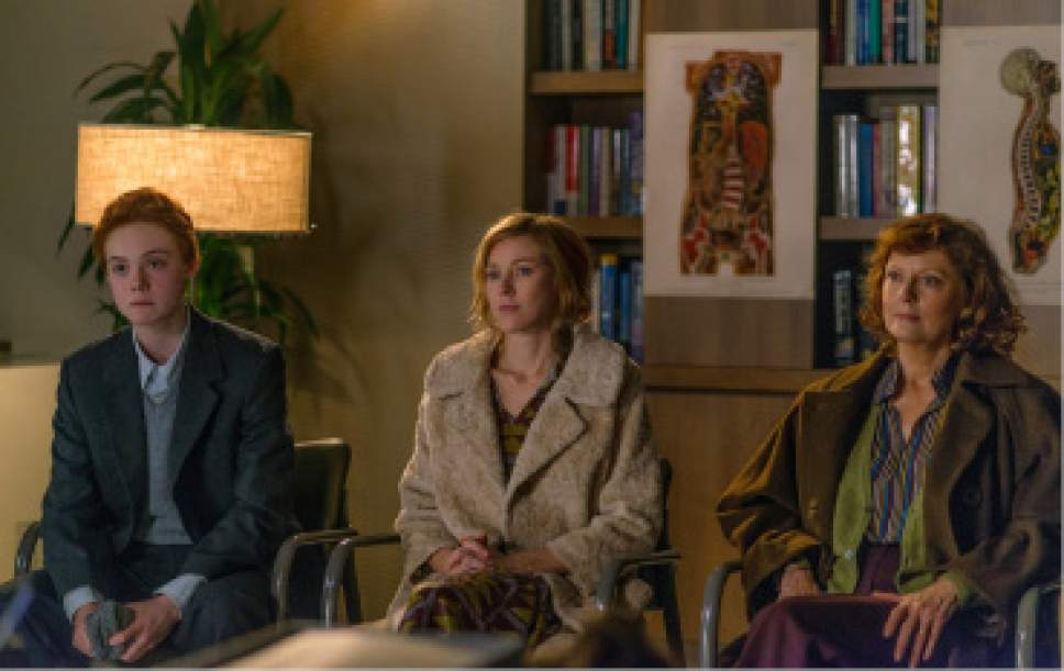 """Ray (Elle Fanning, left), a trans teen boy, hears from a doctor about his transitioning, alongside his mother Maggie (Naomi Watts, center) and grandmother Dolly (Susan Sarandon), in the drama """"3 Generations."""" Courtesy The Weinstein Company"""