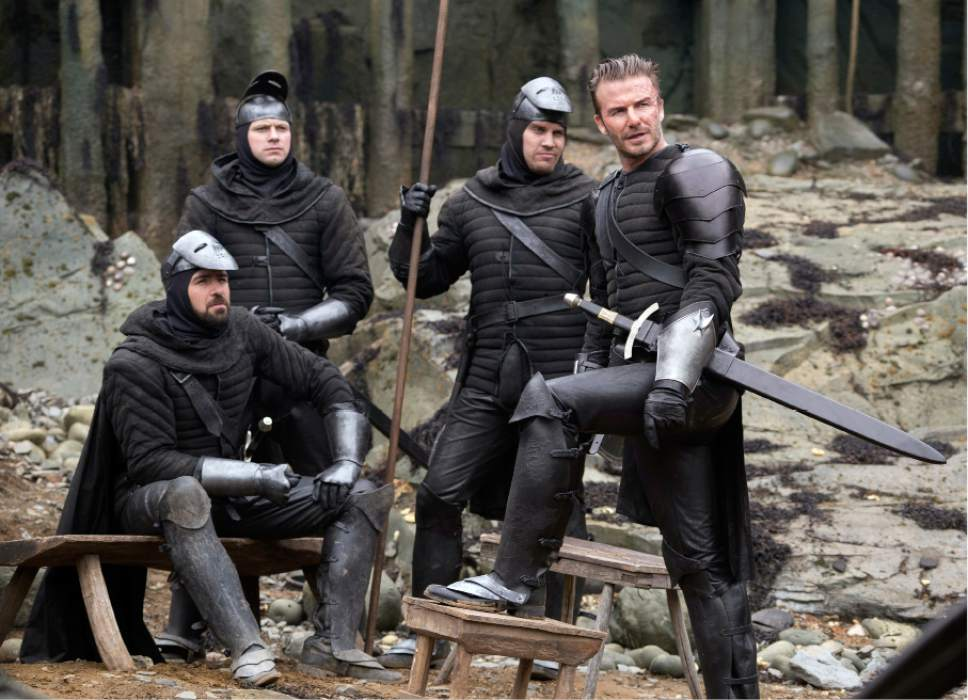 "This image released by Warner Bros. Pictures shows David Beckham in a scene from, ""King Arthur: Legend of the Sword."" (Daniel Smith/Warner Bros. Pictures via AP)"