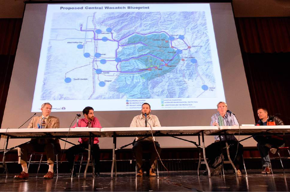 """Trent Nelson      Tribune file photo A panel moderated by Laynee Jones was on hand for a public question and answer session at Cottonwood High School, Wednesday February 11, 2015, on the Mountain Accord """"blueprint"""" for the future of Wasatch Front canyons. Left to right, then-Salt Lake City Mayor Ralph Becker, Uinta-Wasatch-Cache National Forest Supervisor Dave Whittekiend, Carl Fisher of Save Our Canyons, Park City Councilman Andy Beerman, and Nathan Rafferty of Ski Utah. Laynee Jones is an independent consultant leading the Mountain Accord process."""