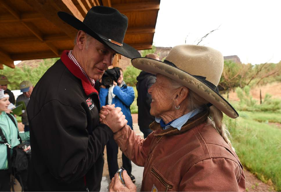 Francisco Kjolseth | The Salt Lake Tribune Interior Secretary Ryan Zinke thanks Heidi Redd during a visit to her historic Dugout Ranch along Indian Creek,  where she runs it under a conservation easement with the Nature Conservancy. Secretary Zinke is continuing his four-day Utah tour on Tuesday, May 9, 2017, of Bears Ears and Grand Staircase-Escalante National Monuments.