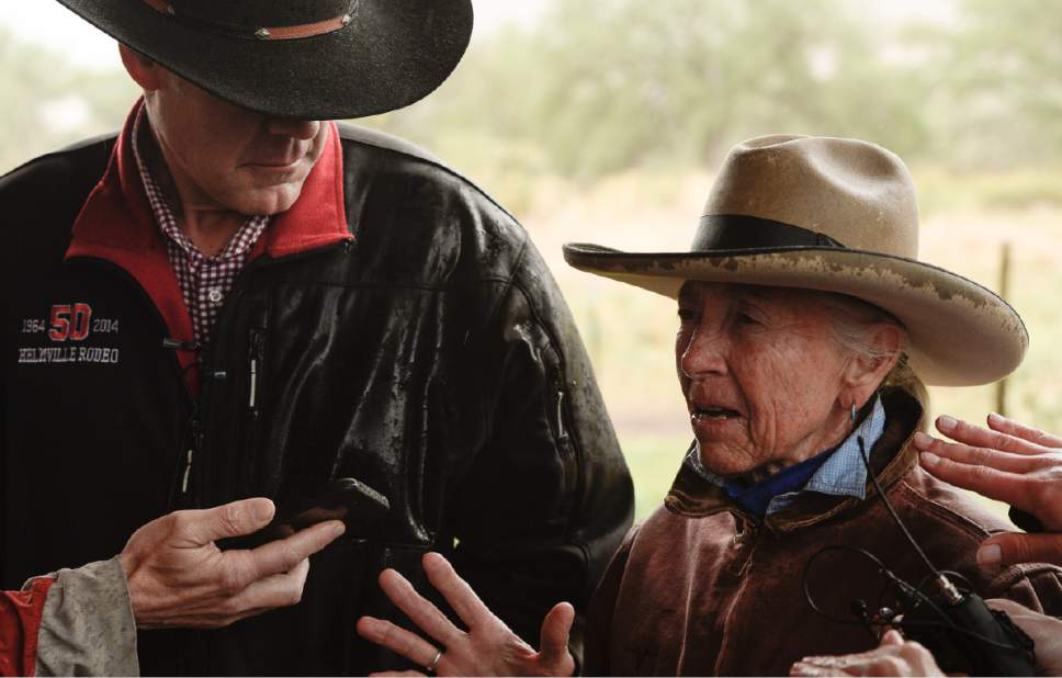 Francisco Kjolseth | The Salt Lake Tribune Interior Secretary Ryan Zinke visits historic Dugout Ranch along Indian Creek, operated by Heidi Redd, at right, under a conservation easement with the Nature Conservancy. Secretary Zinke is continuing his four-day Utah tour on Tuesday, May 9, 2017, of Bears Ears and Grand Staircase-Escalante National Monuments.