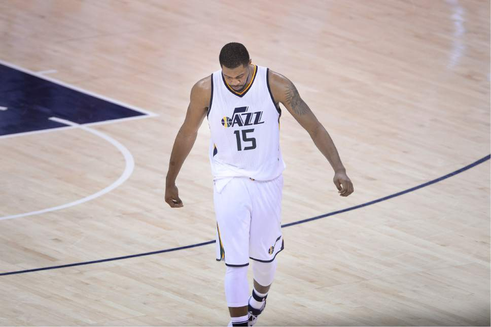 Scott Sommerdorf | The Salt Lake Tribune Utah Jazz forward Derrick Favors (15) walks off the floor after missing two key free throws in the final minute of the game. The LA Clippers won Game 3 of the Western Conference playoff series 111-106, Friday, April 21, 2017.