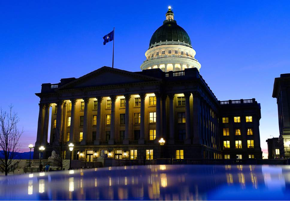 Trent Nelson      Tribune file photo Night falls on the State Capitol Building on the second to last day of the legislative session, Wednesday March 8, 2017 in Salt Lake City.