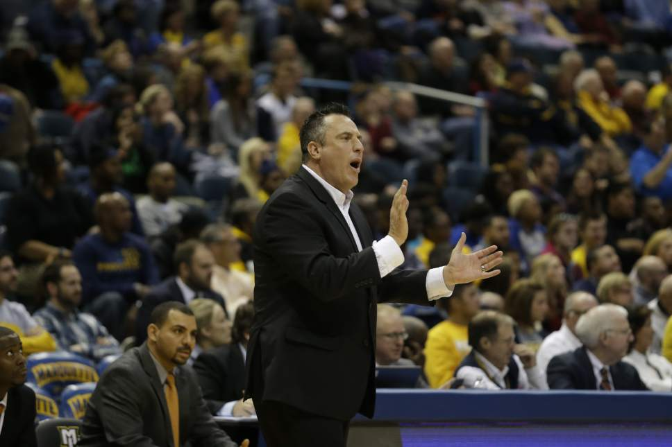 Tennessee-Martin head coach Heath Schroyer during the first half of an NCAA college basketball game against the Marquette Friday, Nov. 14, 2014, in Milwaukee. (AP Photo/Morry Gash)