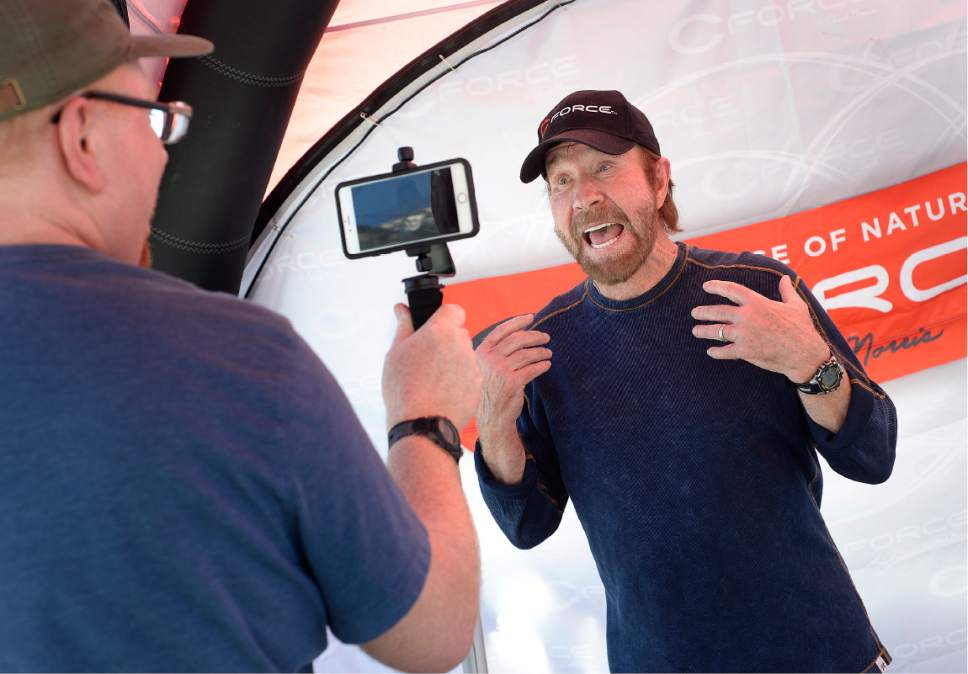 Scott Sommerdorf | The Salt Lake Tribune Actor Chuck Norris responded to a question that perhaps he should be the next director of the FBI since there was an opening for the job as he made an appearance at the State Street Maverick in Provo, Thursday, May 10, 2017.