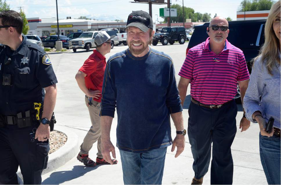 "Scott Sommerdorf | The Salt Lake Tribune Arriving with a police escort, actor Chuck Norris made a stop to promote ""C-Force"" water at the State Street Maverick in Provo, Thursday, May 10, 2017."
