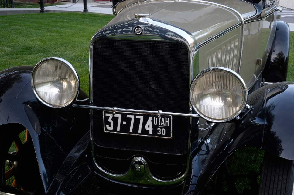 Scott Sommerdorf | The Salt Lake Tribune There is a 1920s Studebaker parked outside the Charleston Cafe in Draper. Located in an historic home, built in 1878, the restaurant has a vintage, 1920s feel, Friday, May 5, 2017.