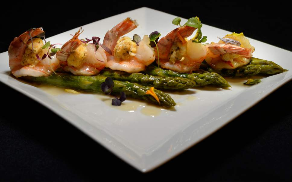 Scott Sommerdorf | The Salt Lake Tribune The shrimp and asparagus appetizer the Charleston Cafe in Draper. Housed in an historic home in Draper, Charleston Cafe serves up salads and paninis at lunch while dinner delivers smoked meats and high-end cuisine that will surprise and delight.