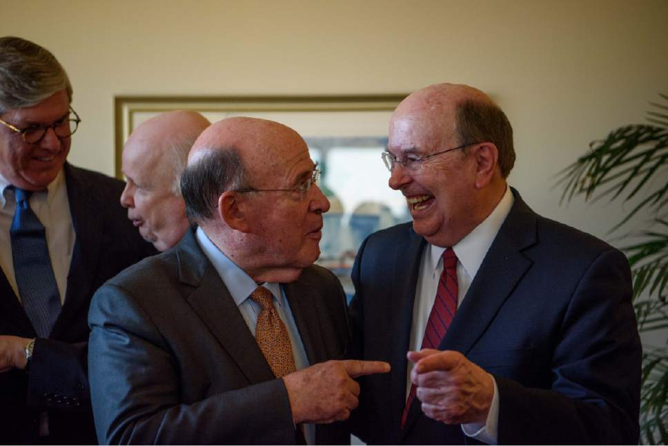 Photo courtesy LDS Church Former four-time New York Attorney General Robert Abrams and Elder Quentin L. Cook of Quorum of the Twelve Apostles of The Church of Jesus Christ of Latter-day Saints.