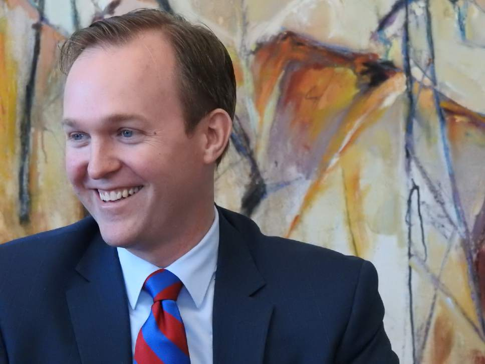 Jeremy Harmon  |  The Salt Lake Tribune  Salt Lake County Mayor Ben McAdams talks about recent changes in the homeless shelter plan during a meeting with The Salt Lake Tribune on Monday, March 13, 2017.