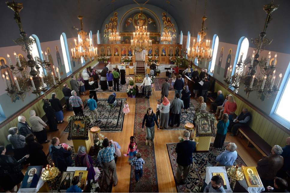 Scott Sommerdorf | The Salt Lake Tribune Worship services, with congregants standing, at Sts. Peter and Paul Orthodox Christian Church, Sunday, April 30, 2017.