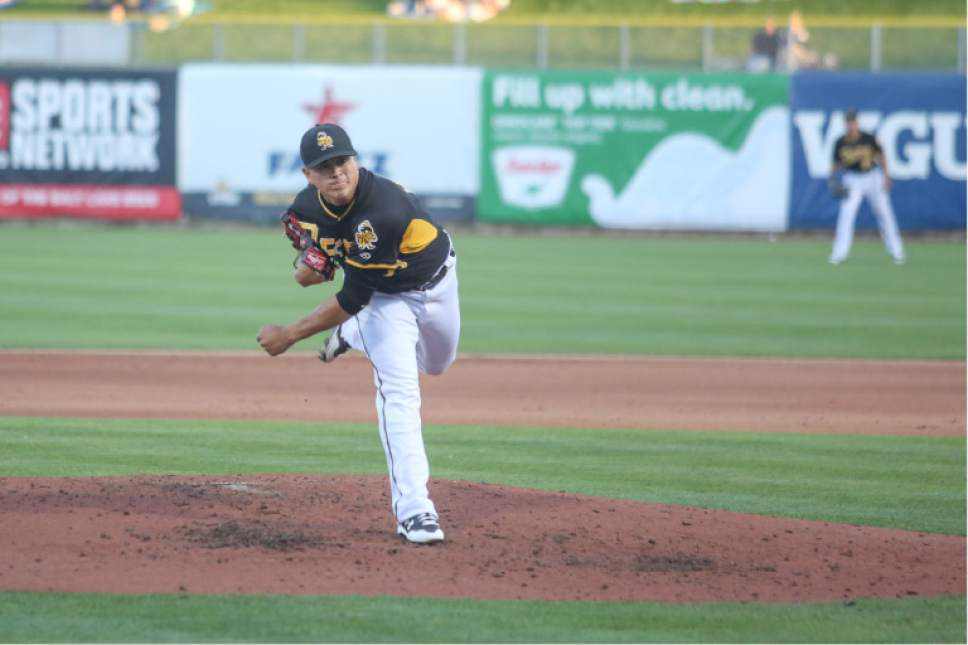 |  Courtesy Salt Lake Bees  Salt Lake Bees starting pitcher Manny Banuelos.