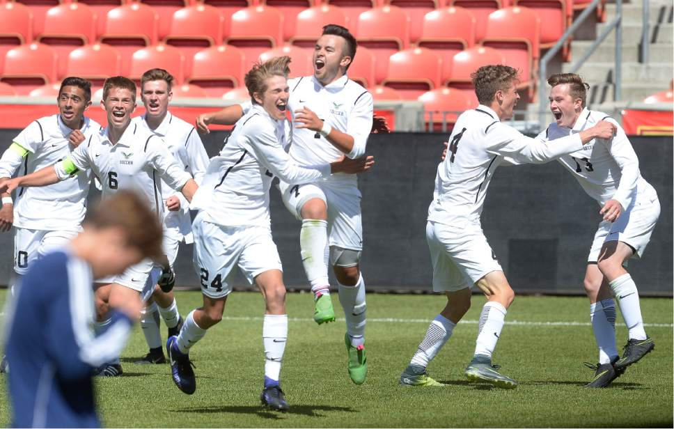 Scott Sommerdorf | The Salt Lake Tribune Alex Cruz, #7, celebrates his golden goal to win the game and 3A championship for Ridgeline as they beat Juan Diego 2-1 in 2 OT, Saturday, May 13, 2017.