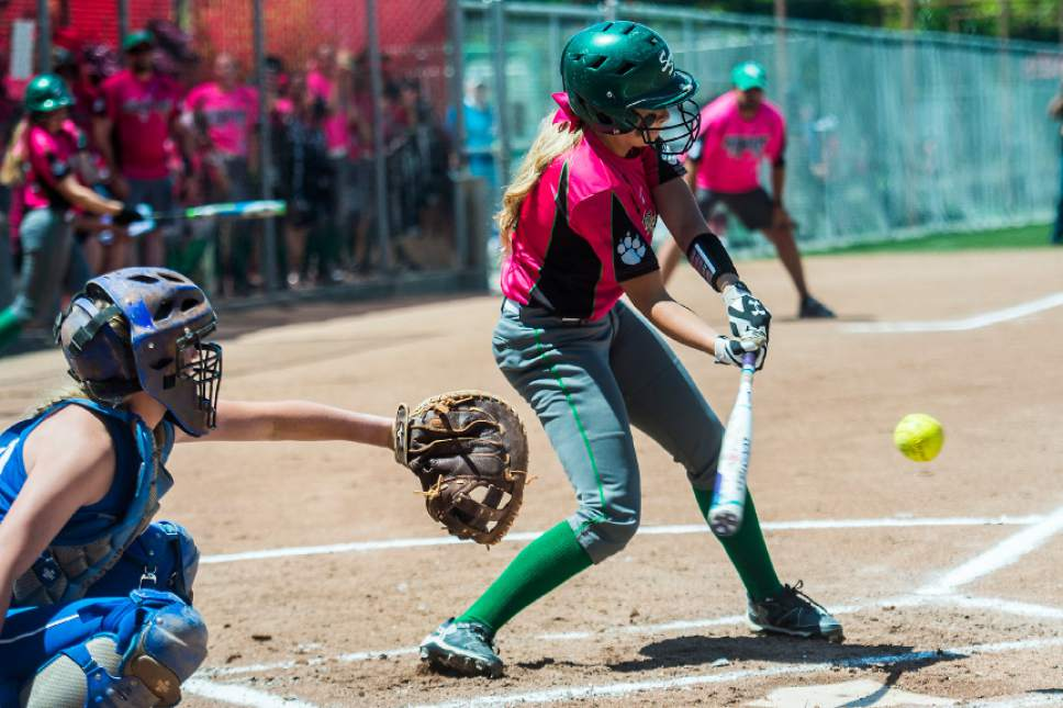 Chris Detrick  |  The Salt Lake Tribune South Summit's Nicole Fitzgerald (5) hits a two-run RBI during the Class 2A state softball title game at Spanish Fork Complex Saturday, May 13, 2017.