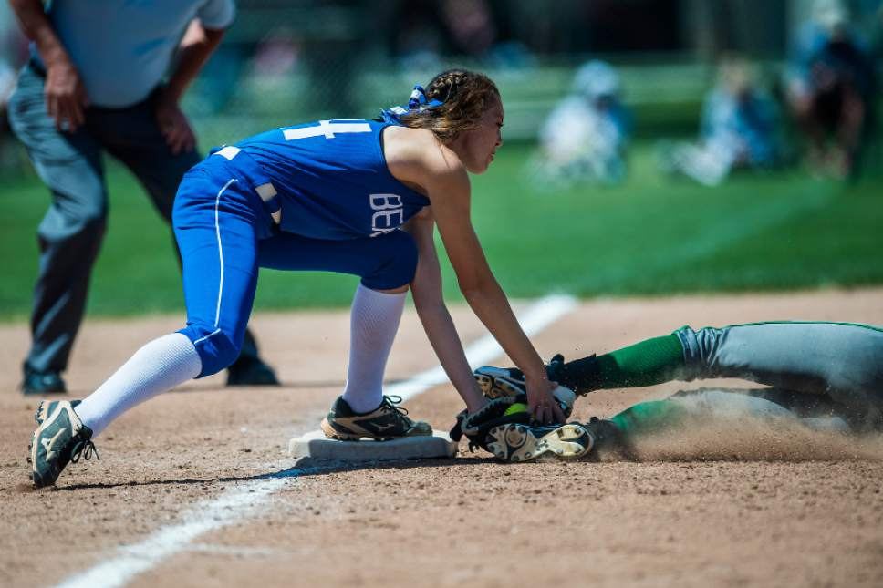 Chris Detrick  |  The Salt Lake Tribune Beaver's Karlie Hollingshead (44) tags out South Summit's Alayna Hansen (9) during the Class 2A state softball title game at Spanish Fork Complex Saturday, May 13, 2017.