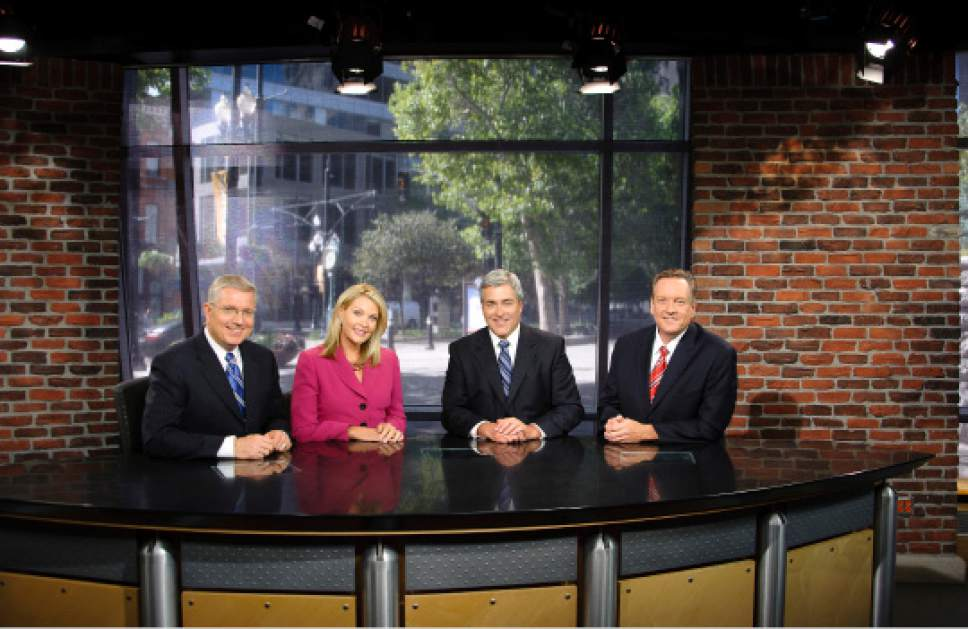 KUTV's Sterling Poulson, Shauna Lake, Mark Koelbel and Dave Fox on the set at Channel 2. Courtesy KUTV