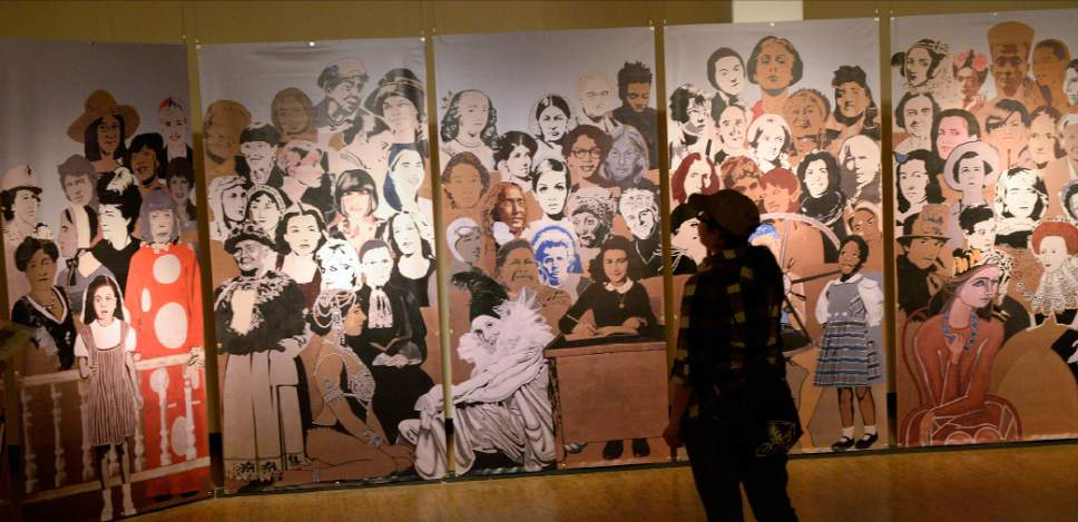 "Al Hartmann  |  The Salt Lake Tribune The Leonardo is unveiling a new exhibit, ""Woman/Women,"" to focus on the accomplishments of women, past and present.  Work in Progress is an ongoing community mural depicting women who have been catalyst for change in the arts, sciences and social activism."