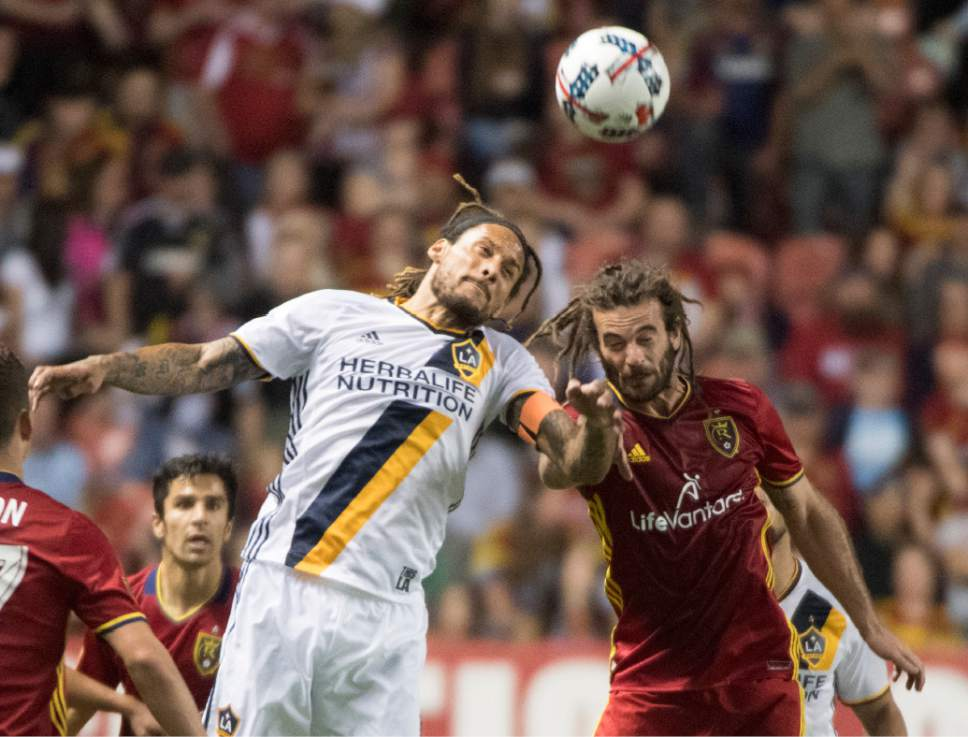 Rick Egan     The Salt Lake Tribune   Los Angeles Galaxy defender Bradley Diallo (18) goes for the ball along with Real Salt Lake midfielder Kyle Beckerman (5) in MLS action Real Salt Lake vs. Los Angeles Galaxy at Rio Tinto Stadium, Saturday, March 18, 2017.