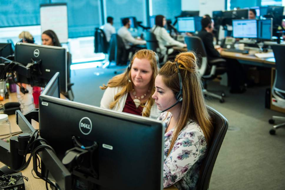Chris Detrick     The Salt Lake Tribune Employees work in the call center of Marcus by Goldman Sachs in Salt Lake City Wednesday, May 3, 2017.
