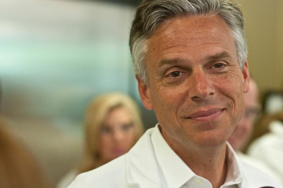 Chris Detrick  |  Tribune File Photo  Presidential candidate and former Utah Gov. Jon Huntsman talks with members of the media during a tour of Nelson Laboratories in Taylorsville last Thursday.