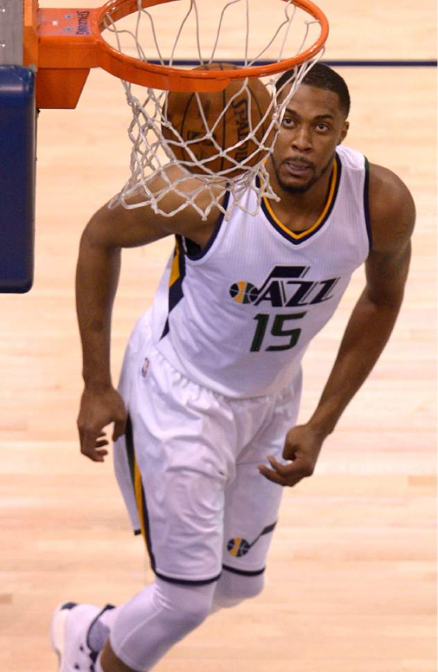 Leah Hogsten  |  The Salt Lake Tribune  Utah Jazz forward Derrick Favors (15) for two. The Utah Jazz trail the Los Angeles Clippers 59-62 in the third quarter during Game 6 at Vivint Smart Home Arena, Friday, April 28, 2017 during the NBA's first-round playoff series.