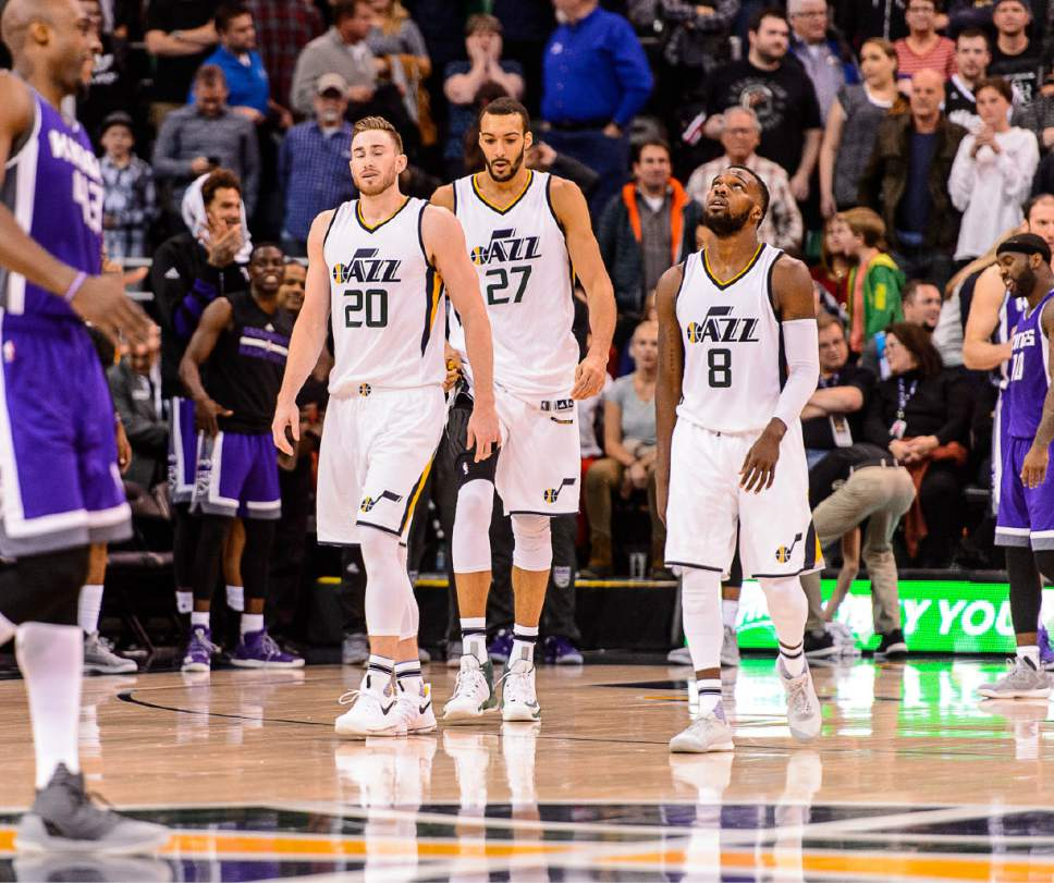 Trent Nelson  |  The Salt Lake Tribune Utah Jazz forward Gordon Hayward (20), center Rudy Gobert (27) and guard Shelvin Mack (8) react to the loss as the Utah Jazz host the Sacramento Kings at Vivint Smart Home Arena in Salt Lake City, Wednesday December 21, 2016.