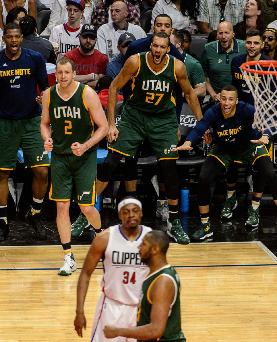 Trent Nelson  |  The Salt Lake Tribune Utah Jazz center Rudy Gobert (27) cheers from the bench, as the Utah Jazz face the Los Angeles Clippers in Game 7 at STAPLES Center in Los Angeles, California, Sunday April 30, 2017.