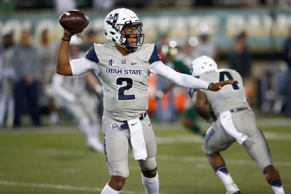 Utah State quarterback Kent Myers throws a pass against Colorado State in the second half of an NCAA college football game Saturday, Oct. 8, 2016, in Fort Collins, Colo. Colorado State won 31-24. (AP Photo/David Zalubowski)