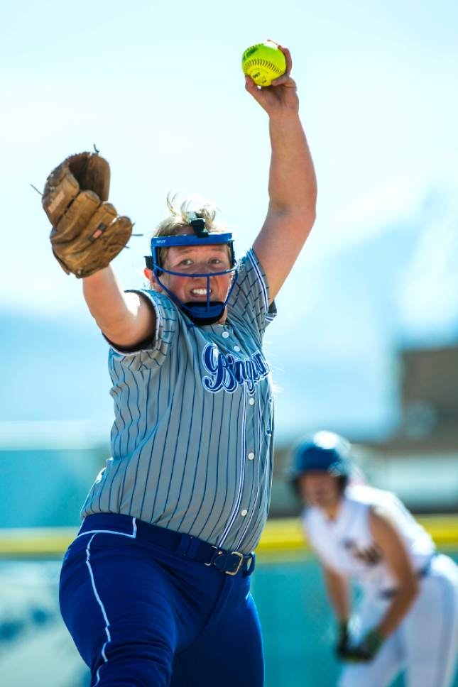 Chris Detrick  |  The Salt Lake Tribune Bingham's Nicole Wall (1) pitches during the game at Bingham High School Thursday, April 6, 2017.