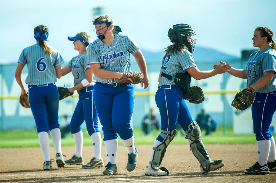 Chris Detrick  |  The Salt Lake Tribune Bingham's Nicole Wall (1) and her teammates celebrate after an out during the game at Bingham High School Thursday, April 6, 2017.