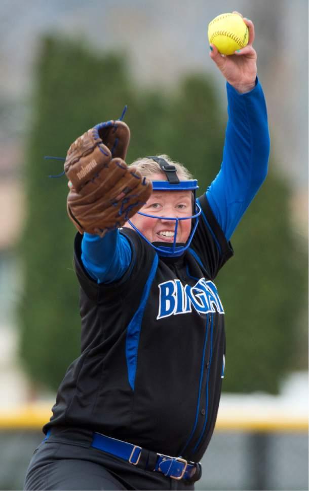 Rick Egan  |  The Salt Lake Tribune  Nicole Wall (11) pitches for Bingham High, in prep softball acton, Bingham vs. Davis, in Kaysville, Tuesday, April 11, 2017.