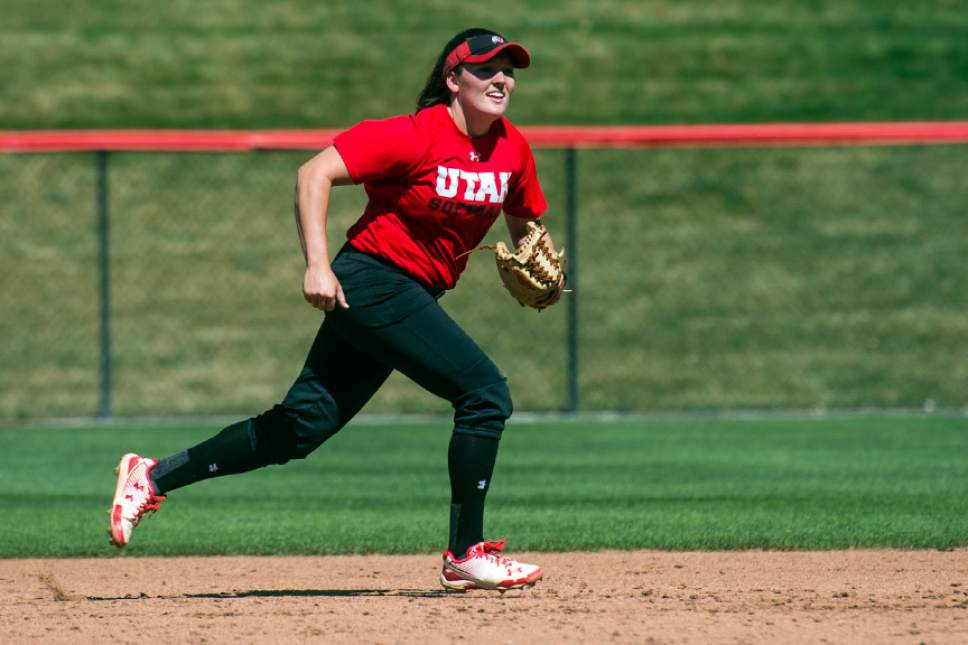Chris Detrick  |  The Salt Lake Tribune Hannah Flippen during a practice at the Dumke Family Softball Stadium at the University of Utah Tuesday April 5, 2016.