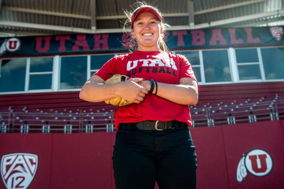 Chris Detrick  |  The Salt Lake Tribune Hannah Flippen poses for a portrait during a practice at the Dumke Family Softball Stadium at the University of Utah Tuesday April 5, 2016.