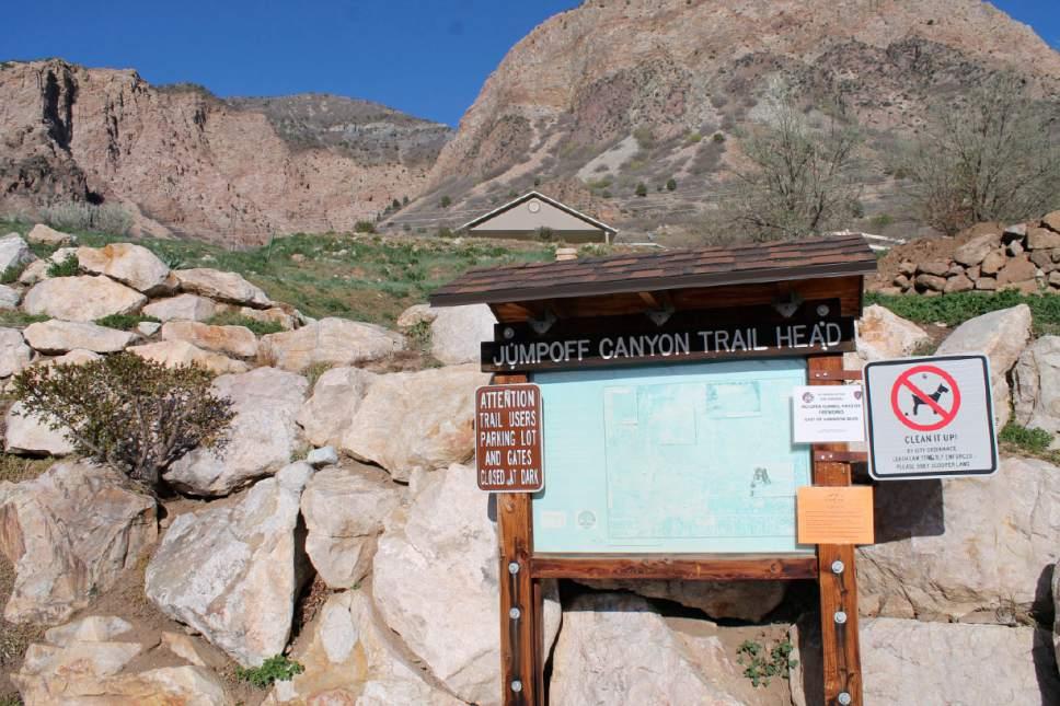 Jessica Miller  |  The Salt Lake Tribune The trailhead of Jump-off Canyon in Ogden. April 4, 2015.