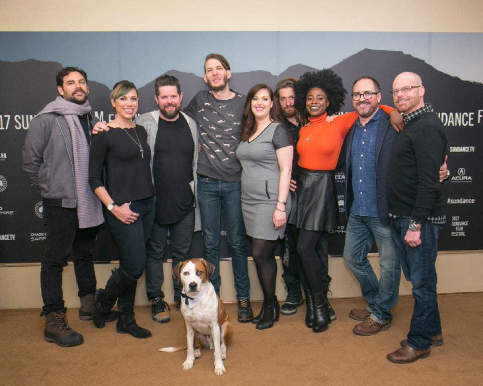 "The producers and cast of ""Downward Dog"" at the 2017 Sundance Film Festival, which premiered the first four episodes: Barry Rothbart, executive producer Kat Likkel, executive producer Samm Hodges, Allison Tolman, Lucas Neff, Kirby Howell-Baptiste, executive producer John Hoberg, executive producer Michael Killen. Natalie Cass  