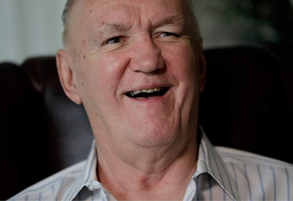 """In a photo taken Wednesday, April 26, 2017, former boxer Chuck Wepner talks to The Associated Press in his home in Bayonne, N.J. Wepner, the Bayonne Bleeder, went toe-to-toe with Muhammad Ali in a fight that inspired Sylvester Stallone to write """"Rocky."""" Stallone later settled a lawsuit Wepner filed against him. Wepner's real-life story is coming to the big screen and this time he's getting all the credit, with Liev Schreiber playing Wepner in """"Chuck,"""" which opens on Friday, May 5, 2017, in New York and Los Angeles before expanding nationwide, (AP Photo/Julio Cortez)"""