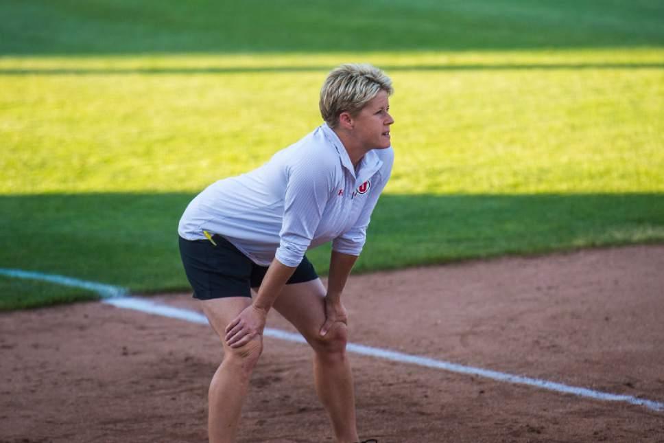 Chris Detrick     The Salt Lake Tribune University of Utah softball coach Amy Hogue watches during the game against Washington Thursday, May 11, 2017.
