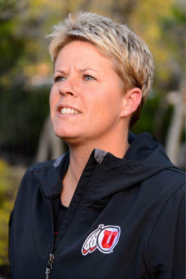 Trent Nelson  |  The Salt Lake Tribune  University of Utah softball coach Amy Hogue talks about her team's seeding in the NCAA Softball tournament, Sunday May 10, 2015.