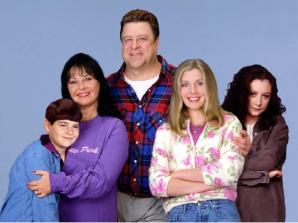 "Michael Fishman, Roseanne Barr, John Goodman, Sarah Chalke and Sara Gilbert starred in ""Roseanne."" Courtesy ABC"