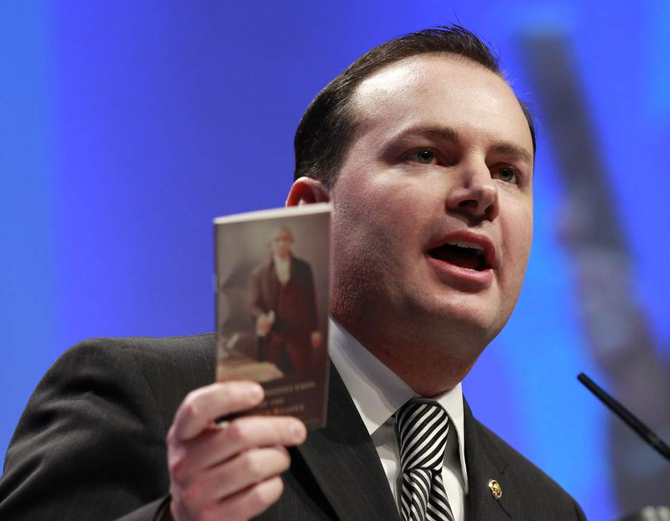 """AP file photo Sen. Mike Lee, R-Utah, wants a more detailed accounting of what President Trump talked about with Russian officials. He says allegations being aired in the press would be """"highly problematic if true."""""""