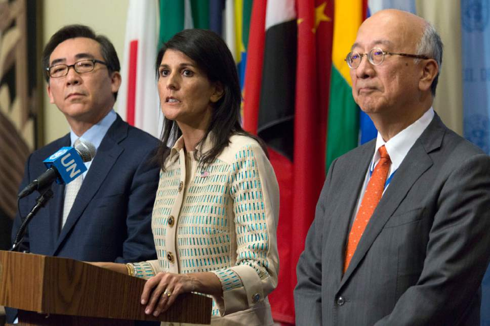 American Ambassador to the United Nations Nikki Haley, center, Japanese Ambassador Koro Bessho, right, and Korean Ambassador Tae-yul Cho speak to reporters before a Security Council meeting on the situation in North Korea, Tuesday, May 16, 2017 at United Nations headquarters. (AP Photo/Mary Altaffer)