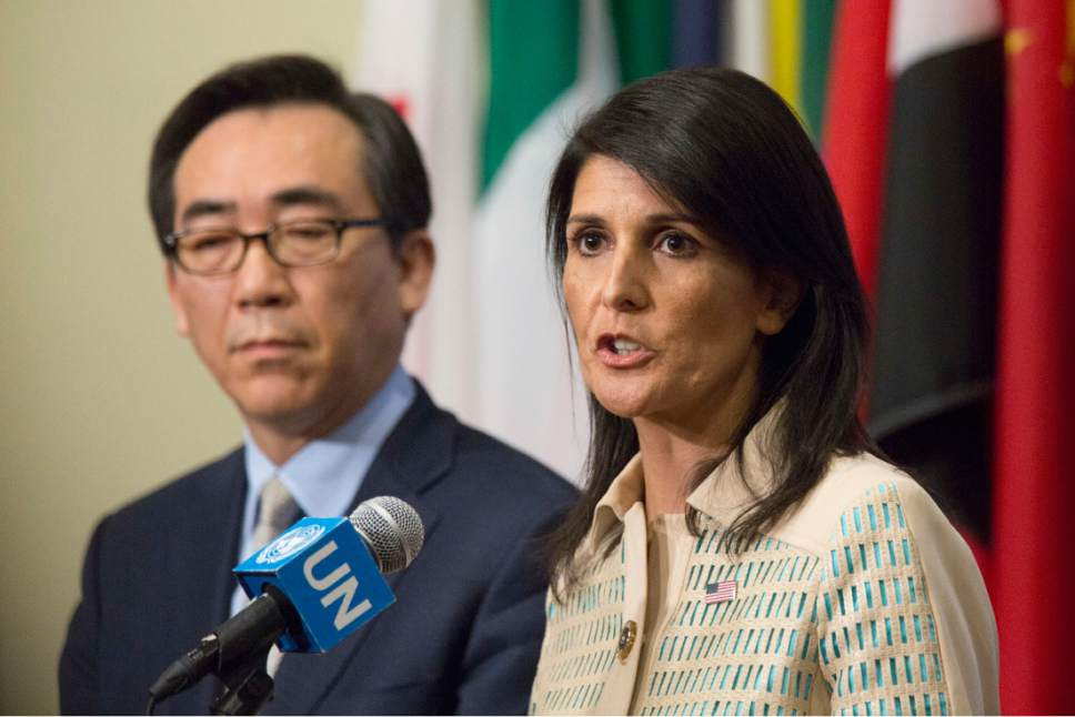 U.S. Ambassador to the United Nations Nikki Haley, right, is joined by Korean Ambassador Tae-yul Cho as she speak to reporters before a Security Council meeting on the situation in North Korea, Tuesday, May 16, 2017 at United Nations headquarters. (AP Photo/Mary Altaffer)