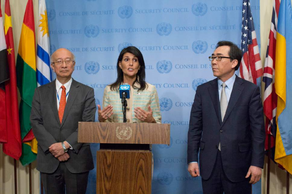American Ambassador to the United Nations Nikki Haley, center, Japanese Ambassador Koro Bessho, left, and Korean Ambassador Tae-yul Cho speak to reporters before a Security Council meeting on the situation in North Korea, Tuesday, May 16, 2017 at United Nations headquarters. (AP Photo/Mary Altaffer)