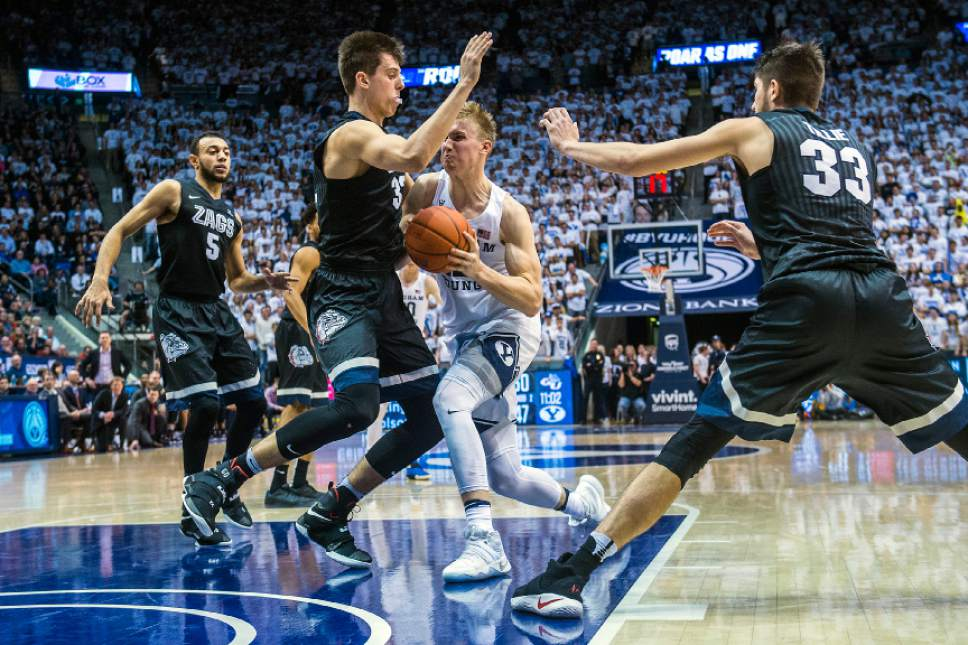 Chris Detrick  |  The Salt Lake Tribune Gonzaga Bulldogs forward Zach Collins (32) guards Brigham Young Cougars forward Eric Mika (12) during the game at the Marriott Center Thursday February 2, 2017. Gonzaga Bulldogs defeated Brigham Young Cougars 85-75.