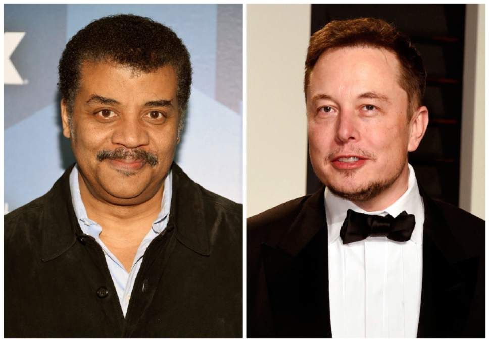 """FILE - Astrophysicist Neil deGrasse Tyson, left, attends the FOX Networks 2016 Upfront Presentation Party on May 16, 2016, in New York and business investor Elon Musk arrives at the Vanity Fair Oscar Party on Feb. 27, 2017, in Beverly Hills, Calif. Filmmakers have long projected that artificial intelligence could spell the end of humanity. Musk, an early investor in the development of AI, told Vanity Fair earlier this year that he worries the technology could ultimately """"produce something evil by accident,"""" such as """"a fleet of artificial intelligence-enhanced robots capable of destroying mankind."""" Tyson believes there's nothing to worry about.  Killer androids may make for fun film fodder, but he doesn't think they're an imminent, or eventual, reality. (Photo by Evan Agostini/Invision/AP, File)"""